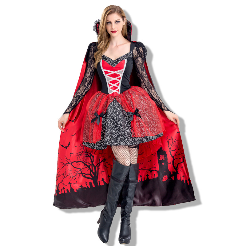 Платья, женская одежда, костюмы ведьм на Хеллоуин вампир, зомби, демон, королева, Маскарадные костюмы (с плащом)