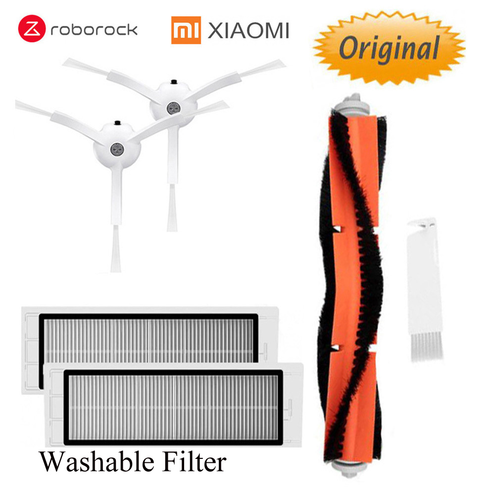 Vacuum Cleaner Parts For XIAOMI Mijia 1/1s / Roborock Robot  Washable HEPA Filter, Main Brush, Side Brush  Original Parts Pack