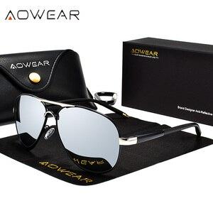 Image 2 - AOWEAR Aviation Polarized Sunglasses Men Driving Mirror Sun Glasses Male Brand Design Classic Pilot Eyewear Oculos Gafas De Sol