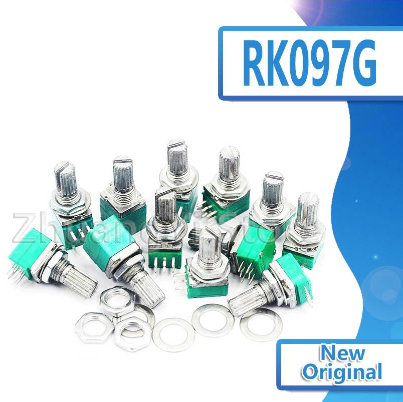 5 шт. RK097G 5K 10K 20K 50K 100K 500K B5K с переключателем звука 6-контактный вал 15 мм усилитель уплотнительный потенциометр