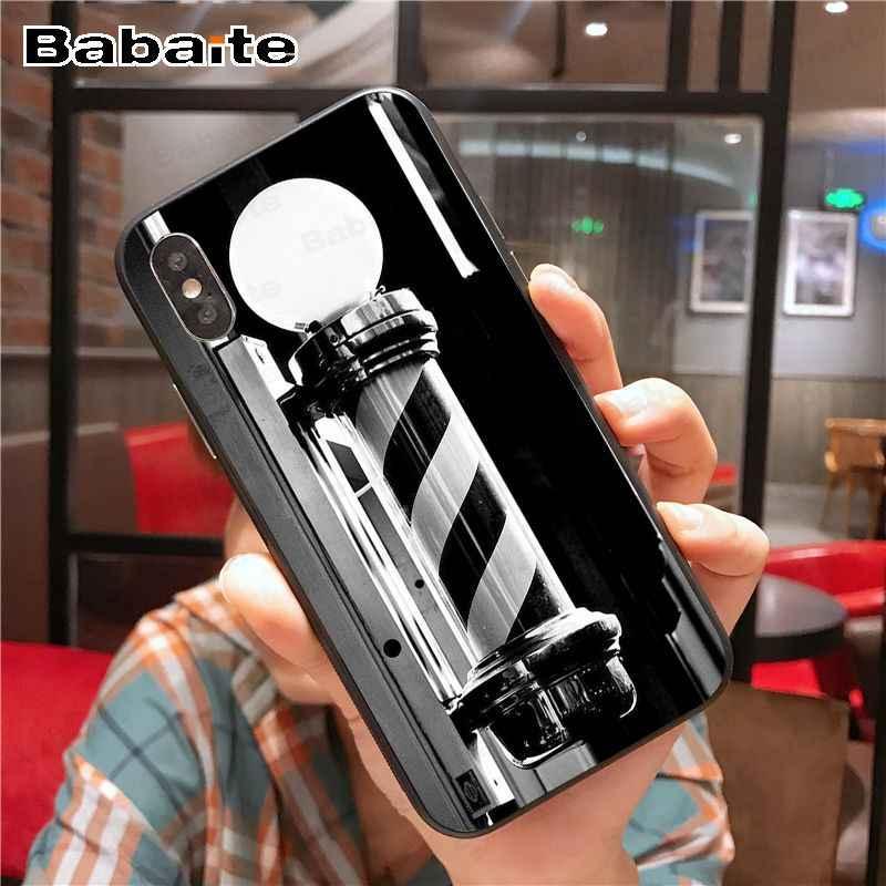 مضحك إلكتروني الحلاق متجر الشعر الأسود TPU لينة سيليكون الهاتف غطاء ل iphone 8 7 6 6S زائد 5s 11pro ماكس XR X XS ماكس كوكه شل