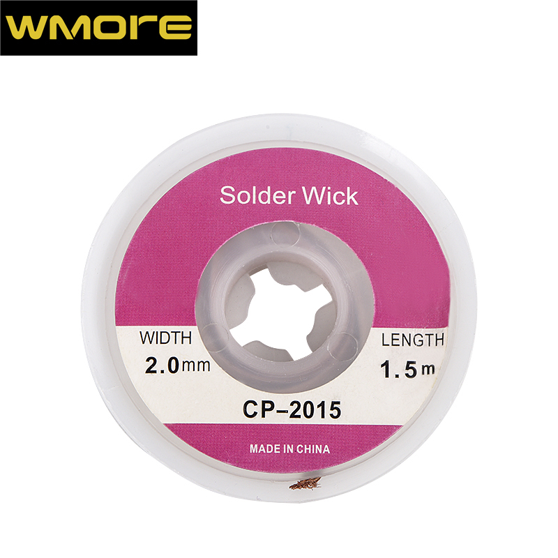WMORE soldering iron wick wire lead-free Tin 1.5M length 2mm width Desoldering Braid Welding Solder Remover Wick Wire Cord Flux