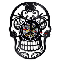 Настенные часы Виниловые настенные часы креативные ретро ностальгические Цветочные костяные настенные часы Виниловые настенные часы