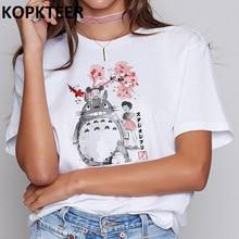 Totoro Harajuku Ullzang T Shirt Women Studio Ghibli Kawaii T-shirt Miyazaki Hayao Funny Cartoon Tshirt Friends Tops Tees Female