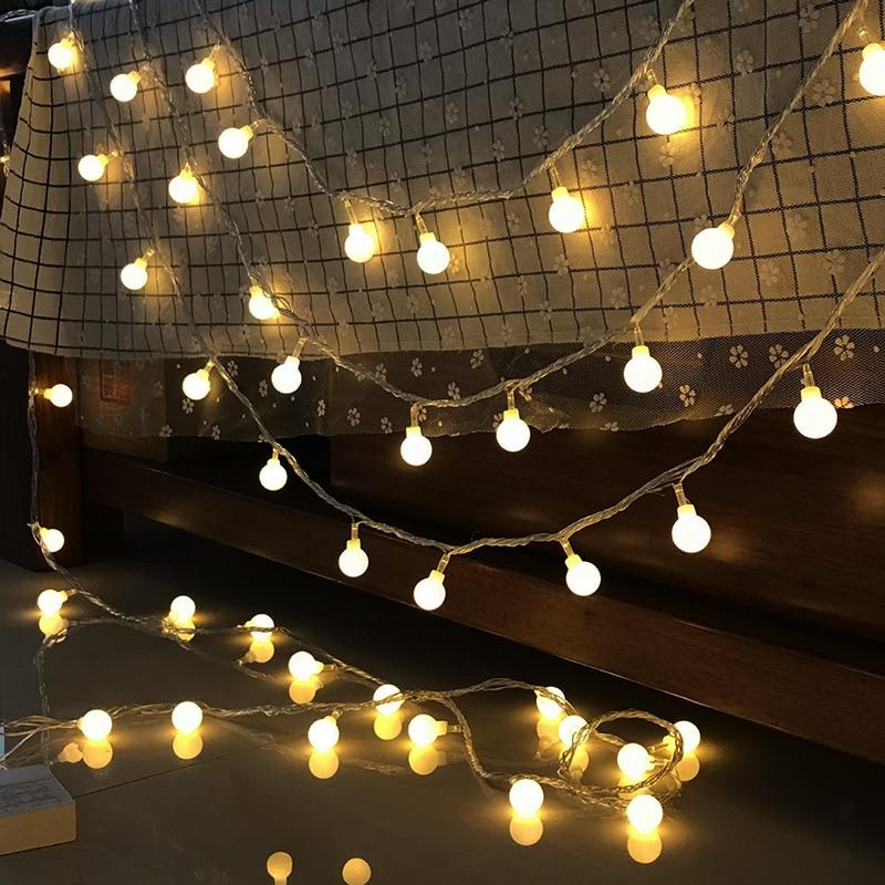 Festoon LED String Lights Christmas Indoor Fairy Lights Garland On Batteries Ball Curtain Decoration Tree Holiday Lights Outdoor