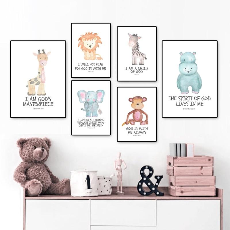 Animal Nursery Decor A3 Canvas Prints Wall Art Set Of 4