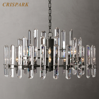 Vintage 3 Tiers Crystal Hanging Lamp LED Cristal Chandelier Lighting Creativity Art Deco Indoor Light Fixture Living Room Hotel