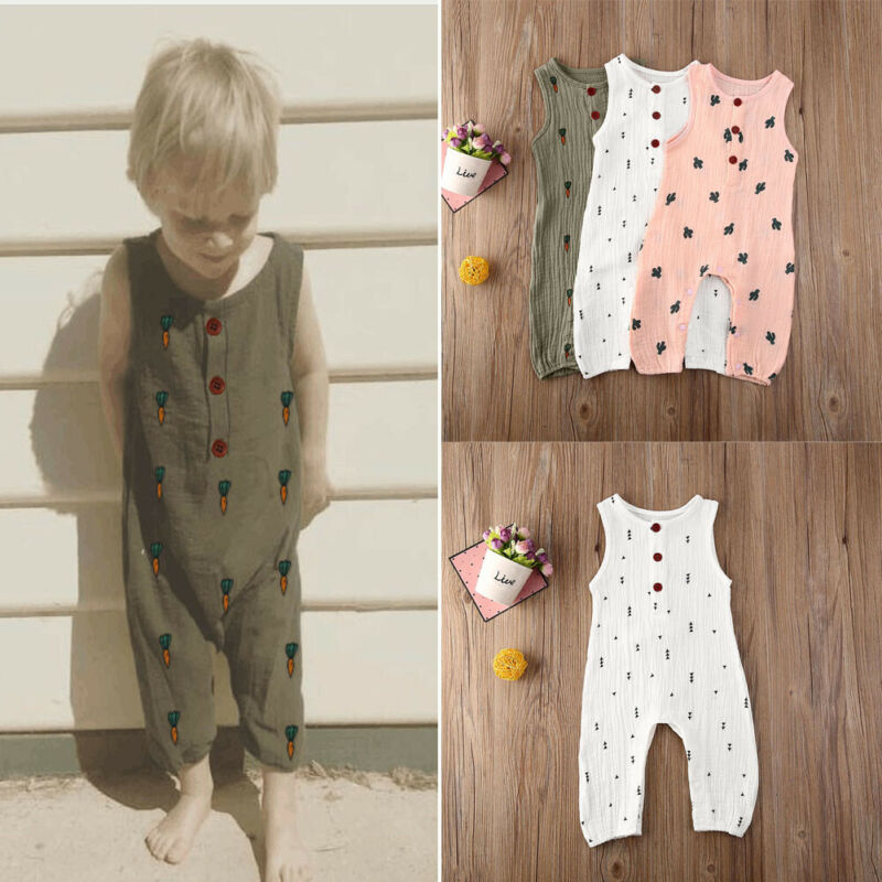 Summer Infant Baby Girls Boy Kid Sleeveless Vest Romper Linen Casual Summer Outfits Clothes