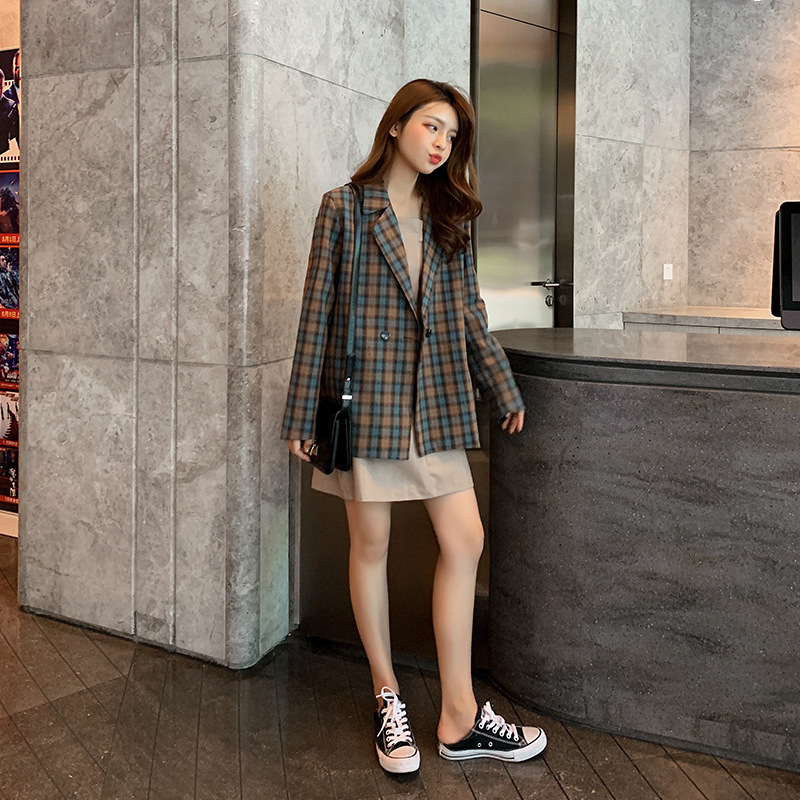 2019 New Style Korean-style Autumn WOMEN'S Suit Small Suit Plaid Coat Women's + Tube Top Dress Two-Piece Set F7575