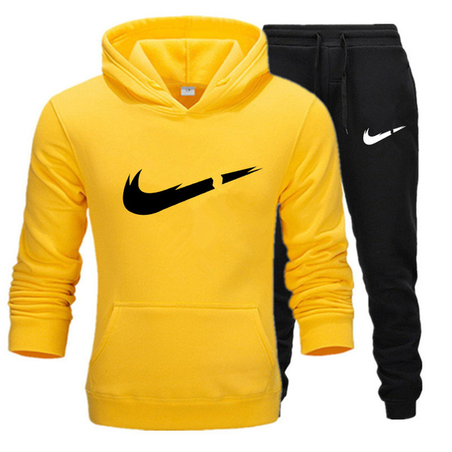 New Two Pieces Set Fashion Hooded Sweatshirts Sportswear Tracksuit Men Hot Brand