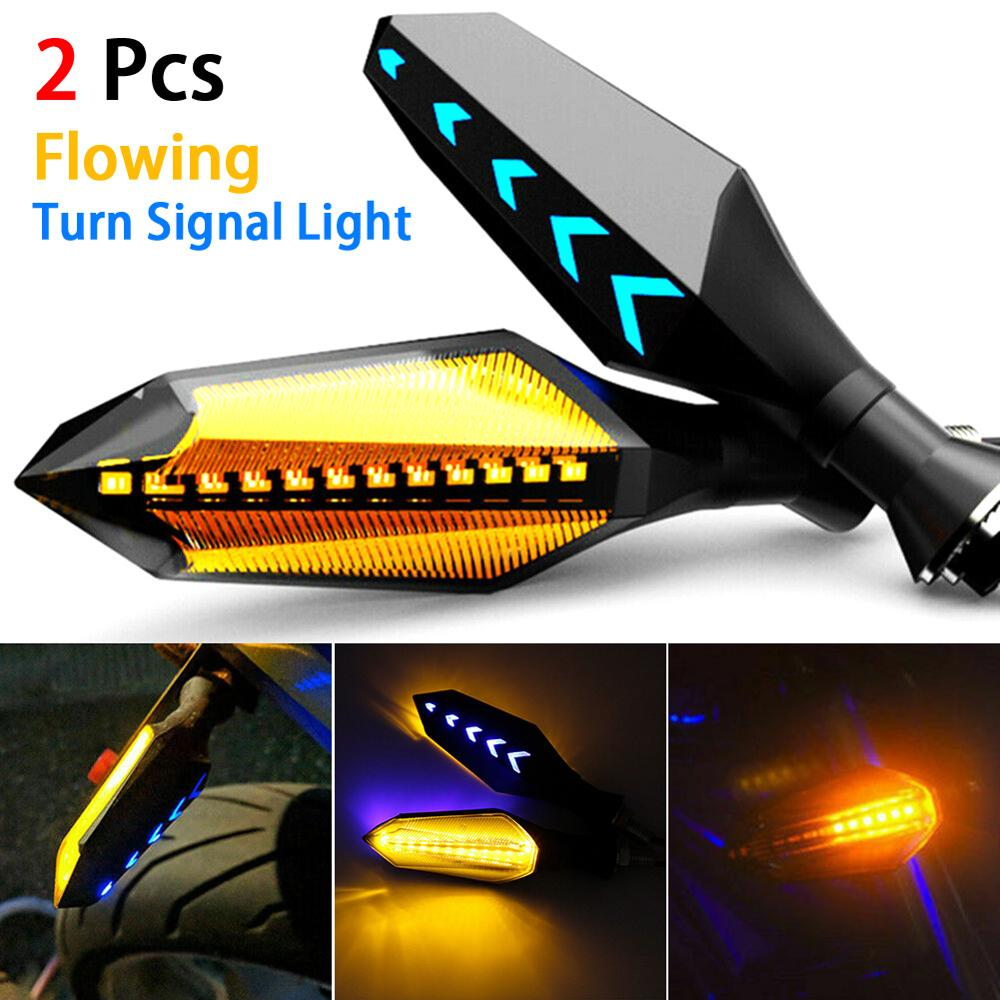 OLOMM 2pcs 8mm Universal Motorcycle LED Turn Signal Lamp Sequential Flowing Flash Indicator Lights Amber Running Light