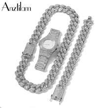 20mm hip hop cubana link conjunto de corrente colar + relógio pulseira miami chain define conjuntos de jóias para mulheres
