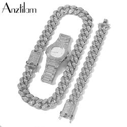 20mm Hip Hop Cuban Link Chain Set Necklace +Watch+Bracelet Miami Chain Sets Iced Out Jewelry Sets For Women Men Jewellery