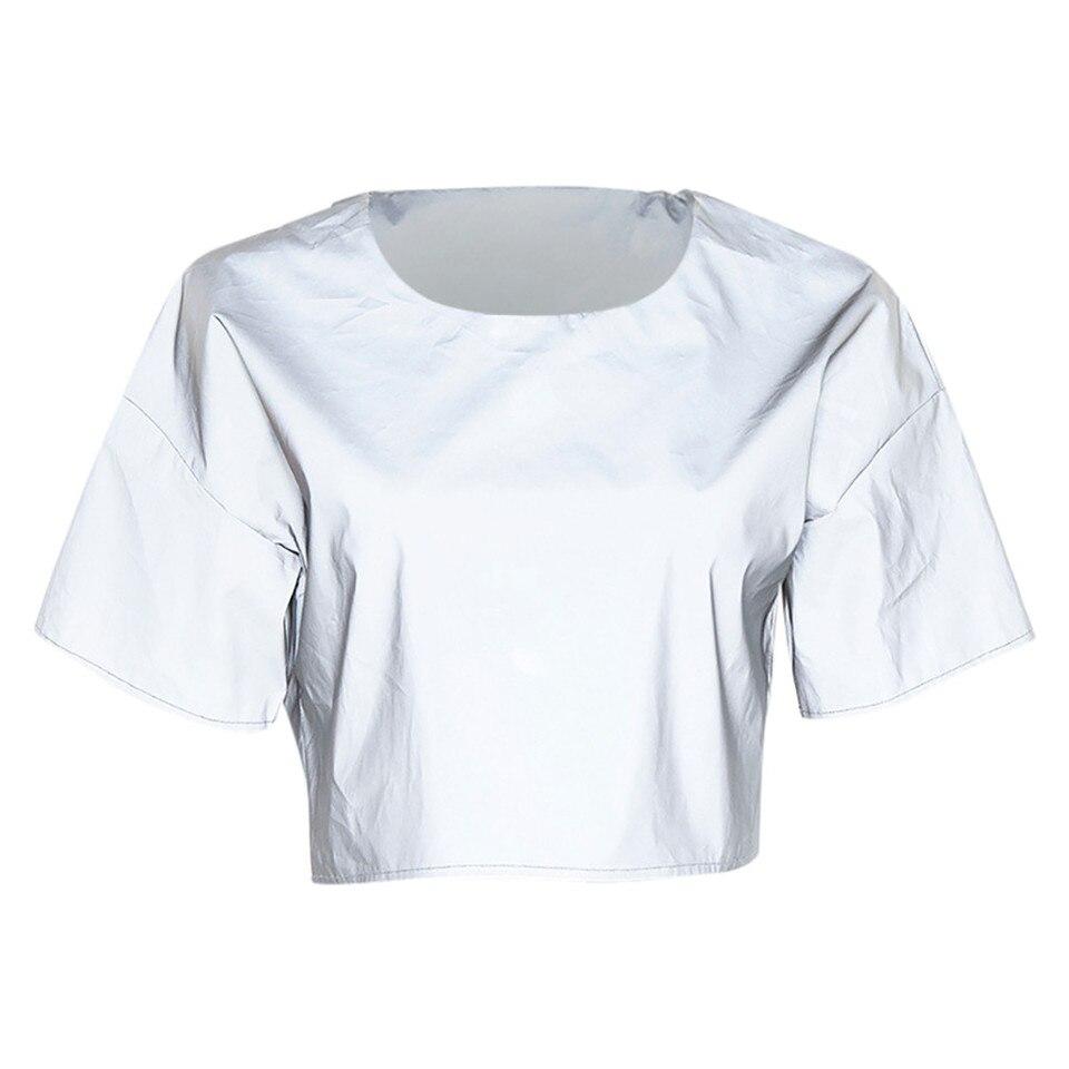 US $2.91 33% OFF Moda odblaskowy t shirt krótki top w stylu casual, letnia koszulka damska O Neck tunikowe bluzki damskie koszulka z krótkim rękawkiem