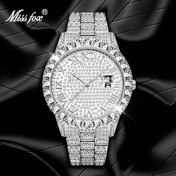 MISSFOX Luxury Men's Watches Top Brand bling Diamond Calendar Roman Number Silver Color Wristwatch Waterproof Clock Gift For Men ailang classic roman number women business dress watches auto self winding real leather wristwatch calendar relojes 3atm nw7192