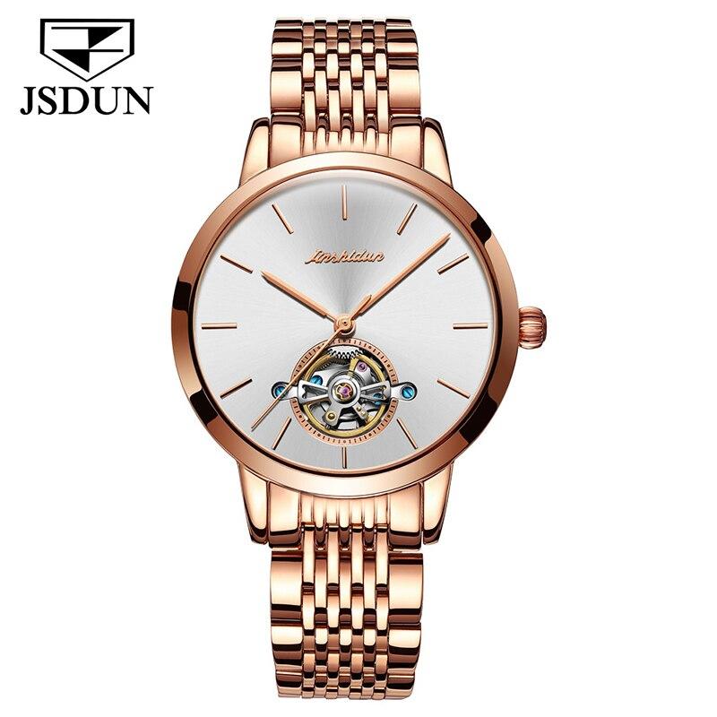 JSDUN автоматические механические часы из нержавеющей стали, лаконичные минималистичные водонепроницаемые женские часы, женские роскошные ч...