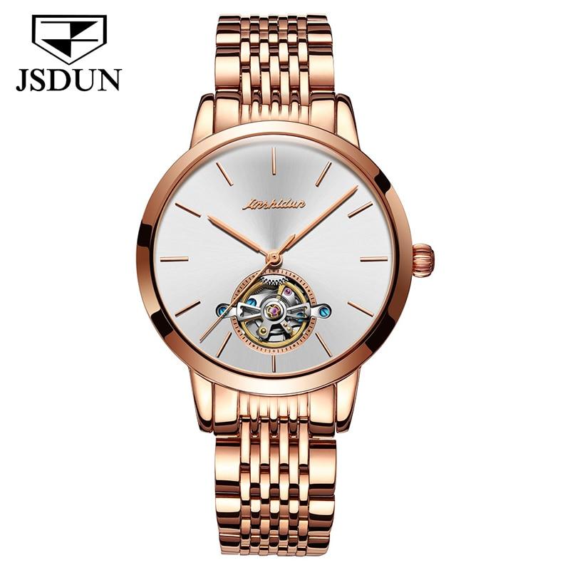 Saatler'ten Kadın Saatleri'de JSDUN paslanmaz çelik otomatik mekanik saat şık Minimalist su geçirmez bayanlar saatler kadınlar lüks Reloj De Las Señoras