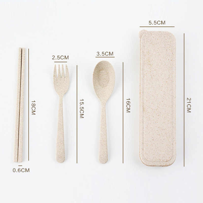 3 Cái/bộ Chén Ăn Bộ Di Động Rơm Lúa Mì Dao Kéo Bộ Muỗng Nĩa Đũa Và Di Động Ốp Lưng Bộ Đồ Ăn Cho Cắm Trại