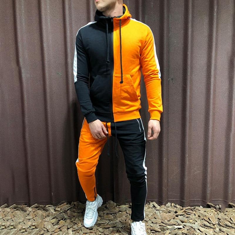 NIBESSER Nice 2 Pieces Tracksuit Sets Men Sportwear Autumn Winter Hooded Sweatshirt +Sweatpants Patchwork Hoodies Coat Sets