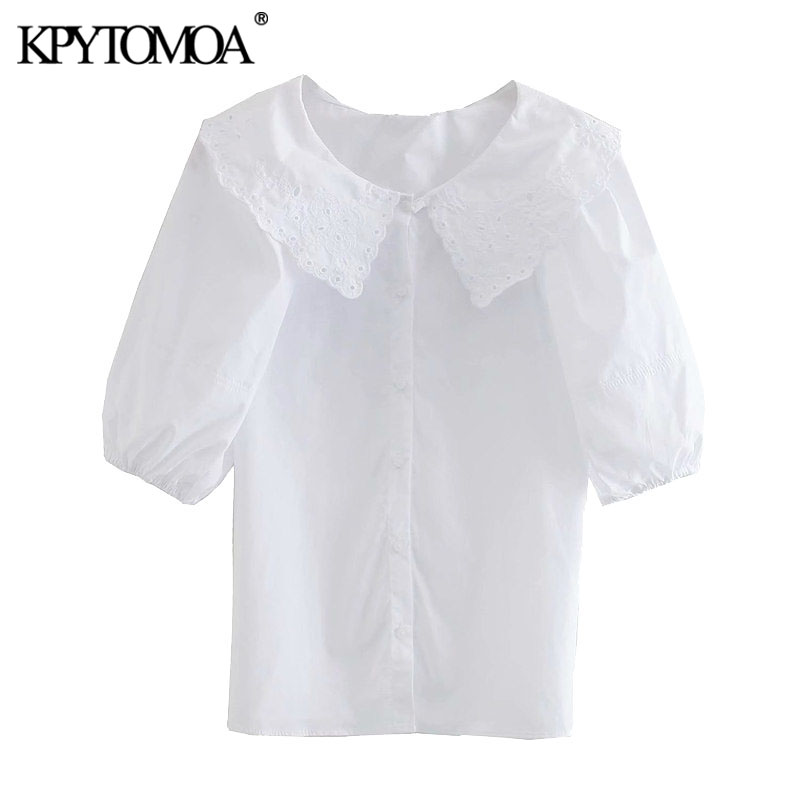 KPYTOMOA Women 2020 Fashion With Embroidery Collar Poplin Blouses Vintage Puff Sleeve Button-up Female Shirts Blusas Chic Tops