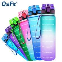 Quifit 1l 32oz leakproof tritran bpa garrafa de água livre com motivacional marcador de tempo flip-flop para garantir a bebida o suficiente diariamente