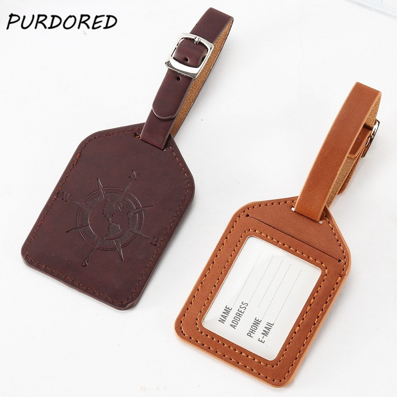 PURDORED 1 Pc Compass Pattern Luggage Tag PU Leather Suitcase Label Bag Travel Accessories Name ID Address Tags Dropshipping