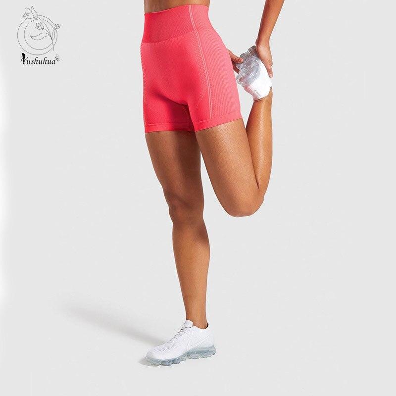 Yushuhua 2020 New Women High Waist Energy Seamless Yoga Shorts Push Up Hip GYM Shorts Fitness Sports Leggings