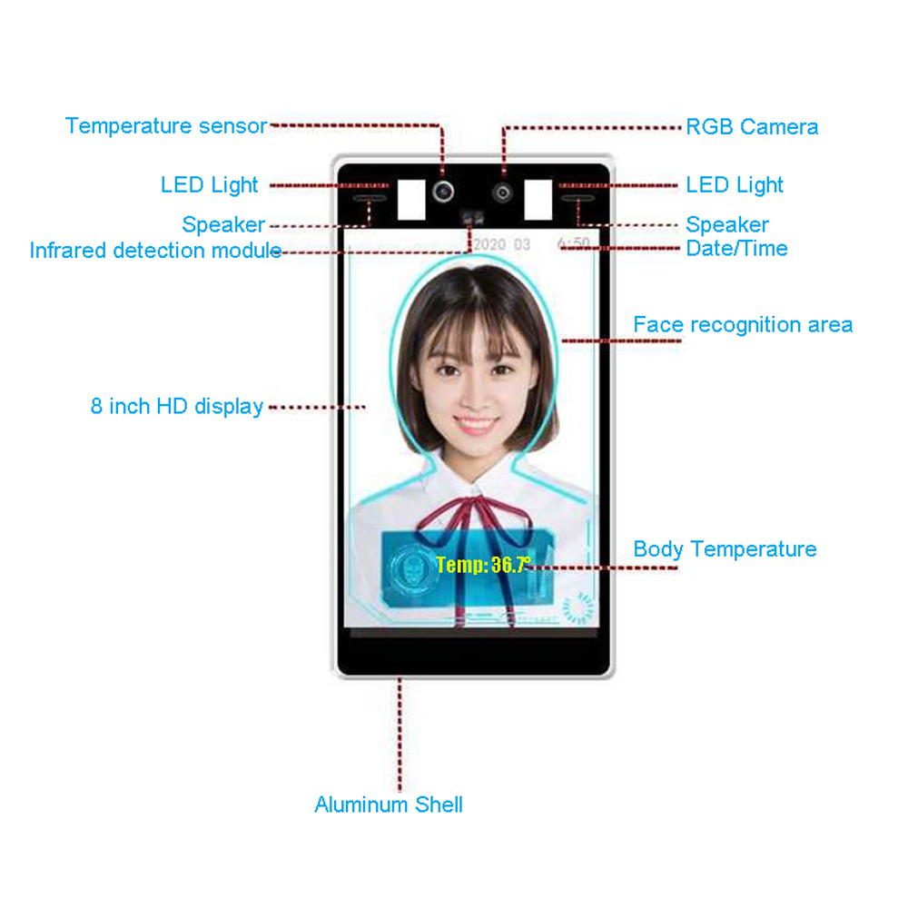 Image 5 - Face Recognition Thermo Camera Body Temperature Detector Access Control Non contact Fever Imager Thermal Camera with Voice AlarmSurveillance Cameras   -