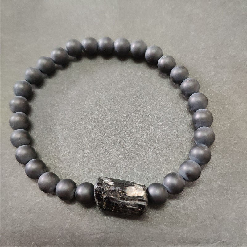 matte onyx stone beads natural black raw rough tourmaline tourmli mineral healing stone beaded bracelets for man women