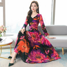 Fall 2020 Women Dress Silk Long Sleeves High Waist V-neck Flower Long Dresses for Women Clothing Early Autumn Red Purple(China)