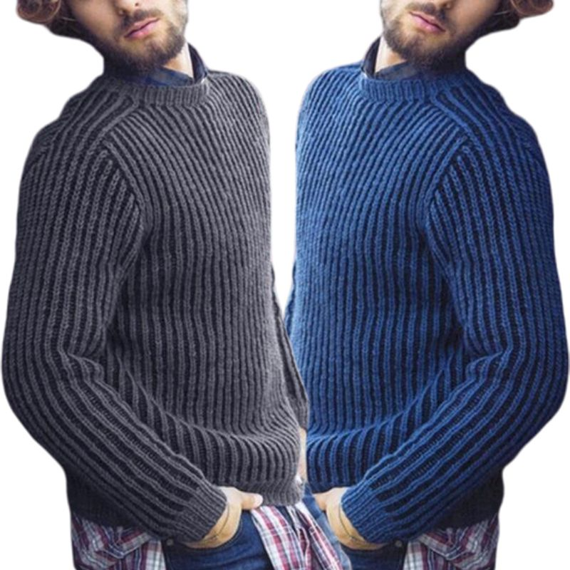 Image 2 - Mens Plus Size Winter Long Sleeve Pullover Sweater Ribbed Knitted Slim Fit Solid Color Round Neck Casual Streetwear Tops M 3XLPullovers   -