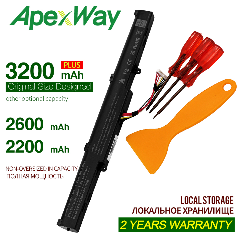 ApexWay Laptop Battery For A41-x550e Asus X751l Asus X550d F450J F450JF X751L X751M X751MA X750JA A450E A450J A450JF F450 F450C