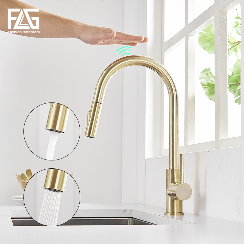 FLG Touch Control Kitchen Faucets Smart Sensor Kitchen Tap Brushed Gold Stainless Steel Touch Faucet Pull Down Sink Mixer Taps