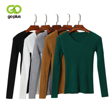 GOPLUS Autumn Winter Womens knitted Sweater V neck Slim Warm Soft Sweaters Pullover Casual Clothing Female