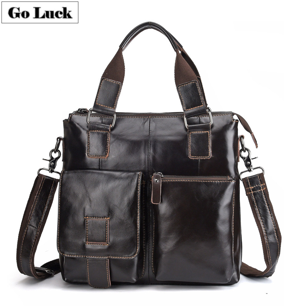 GO-LUCK Brand New Genuine Leather Top-handle Handbag A4 File Ipad Briefcase Men Crossbody Shoulder Bag Men's Messenger Bags