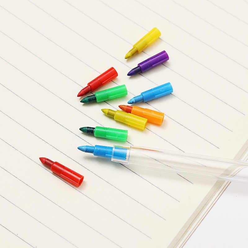 10 สี/ชิ้นน่ารัก DIY เปลี่ยนได้ดินสอสีน้ำมันที่มีสีสัน Pastel สีสร้างสรรค์ดินสอ Graffiti ปากกาวาดภาพวาดเครื่องเขียน