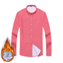 Aoliwen brand men Plus velvet thick warm winter casual shirts Wool fleece lining long sleeve Oxford Textile Solid mens