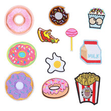 Embroidered Snack Iron on Donut Drink Heat Transfer Appliques DIY Food Cute Patch Clothes Badges Stickers for Backpack Patcher