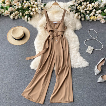 FMFSSOM 2021 Summer Camisole Casual Style Corss-pants Sets Women Normcore/Minimalist  Backless Square Collar Belt Jumpsuits 1