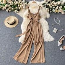 FMFSSOM-camisola de verano para mujer, conjuntos de pantalones de estilo informal para mujer, con espalda descubierta, mono con cinturón de cuello cuadrado, normal/minimalista, 2021