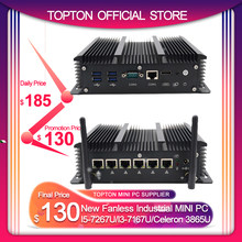 Topton fanless 6 lans industrial mini pc intel core i5 7267u i3 7167u firewall pc pfsense roteador 4 * usb3.0 2 * rs232 hdmi 4g/3gwifi(China)