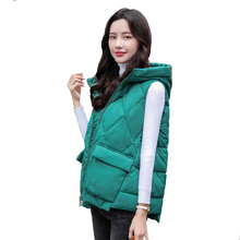 Winter Vest Padded Coat Hooded Female Autumn Women Warm Solid