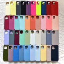 Com caixa original oficial caso de silicone para iphone 12 11 pro max mini xr x xs casos para iphone 7 8 6s plus se 2020 capa completa