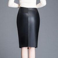 Women Sheepskin Skirt Wrap Hip Leather Over Knee Genuine Leather Skirt Female High Waist Split Package Hip Skirt Plus Size XA203