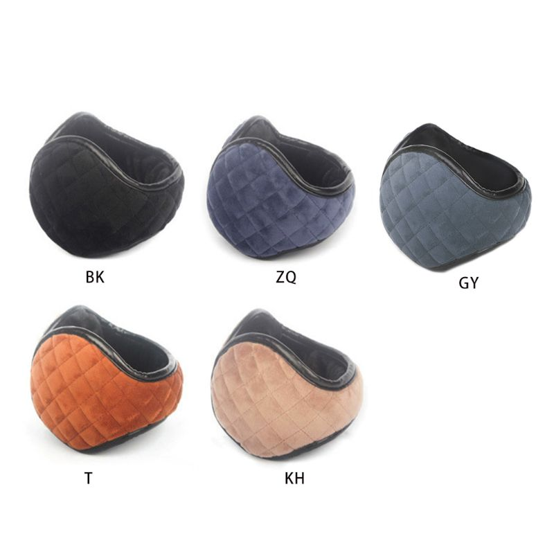 Men Women Winter Thicken Plush Windproof Knit Plaid Texture Foldable Earmuffs Unisex Casual Solid Color Ear Warmer Cover