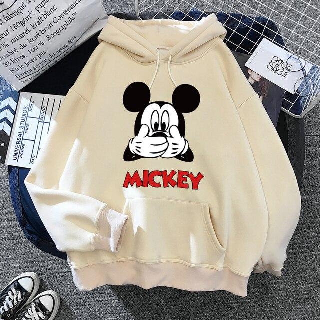 Disney Women Hoodies Minnie Mickey Mouse Hoodies Cartoon Tops Long Sleeve Pockets Sweatshirts Fashion Hooded Women 6