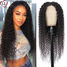 Brasileiro kinky culry perucas dianteiras do laço 6-28 polegada 13x1 t/l parte perucas do laço pré arrancadas 100% remy cabelo humano cor natural euforia