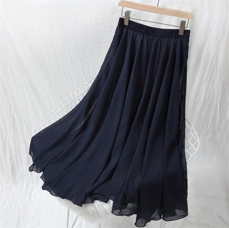 2020 Autumn Women Long Skirts Fashion Brand A-Line Women Pleated Skirts High Waist Women Maxi Chiffon Skirt Plus Size 6XL 7XL