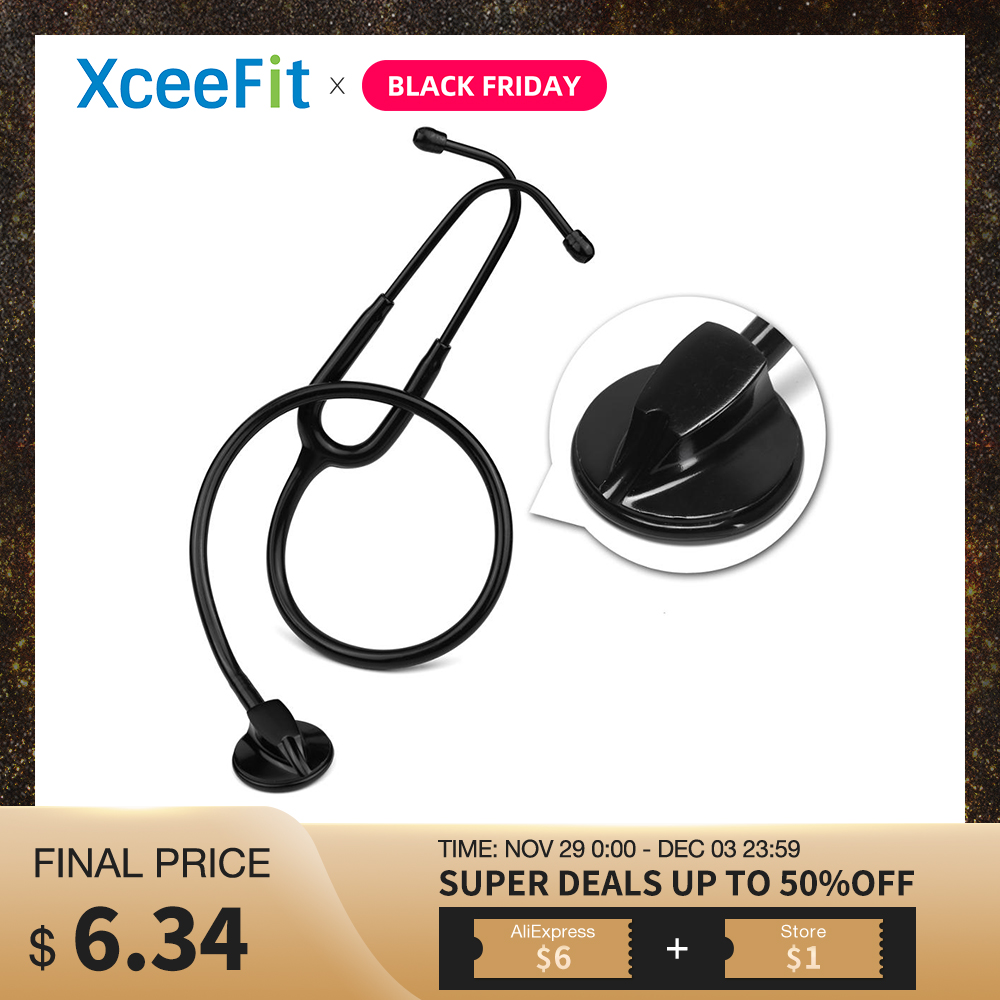 All Black Medical Cardiology Doctor Stethoscope Professional Medical Heart Stethoscope Nurse Student Medical Equipment Device