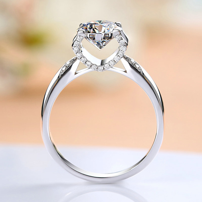 925 Sterling Silver 1ct 2ct 3ct Round Brilliant Cut Ring Classic 4 Claw Luxurious Moissanite Ring Engagement Jewelry Anniversary